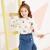 Moomoo子供服の新型の女の子ファッションカジュアルで甘いレースのニットトップシャツの中の大子供服の白い150/72