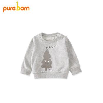 pureborn博叡恩ベビー長袖Tシャツ春着男女赤ちゃんコットン100%ガーディアンカーディガンの上に服の麻灰110 cm 3-4歳があります。