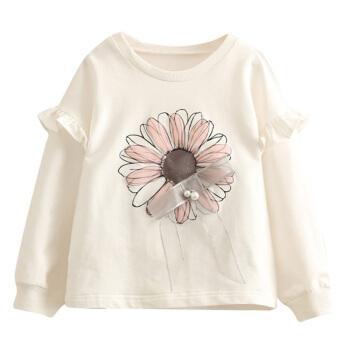 Class ic Teddy赤ちゃんの花のリボンの衛衣の春服の新型の女の子の子供服の子供服の子供服の子供服の上着wt 8988白色の110 cm