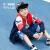 QIAODANオフィシャルフラッグシップショップ子供服子供服ドレンカートン2019夏新型学生Tシャツの中の大童男子供秋スポーツ上着学院の青い炎紅150 cm