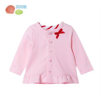 ベベイーの子供服の女の子の服春季の丸襟コートは100%前にボタン式の王女の上着の浅い粉の90 cmを開けます。